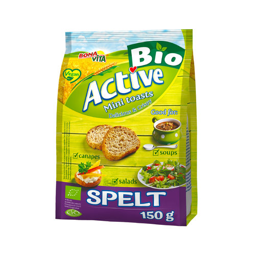 ACTIVE BIO Mini toasty so špaldovou múkou 150g cena za 1 kartón (10 kusov)