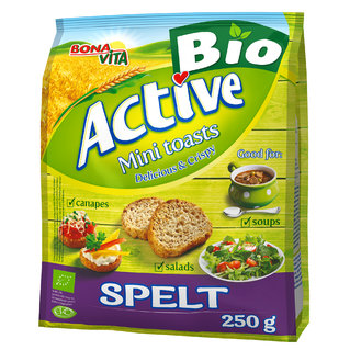 ACTIVE BIO Mini toasty so špaldovou múkou 250g cena za 1 kartón (15 kusov)
