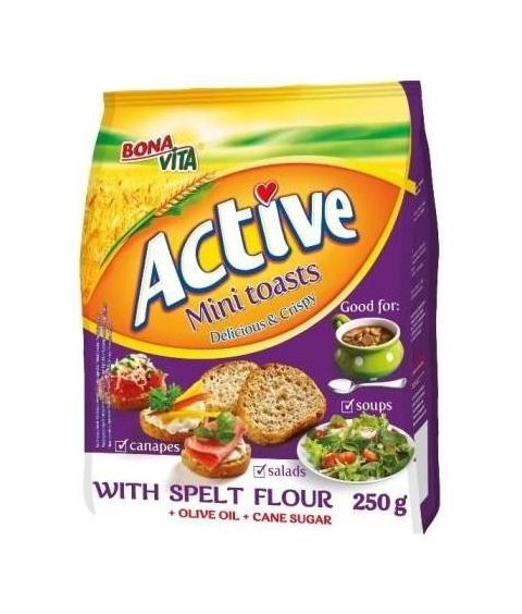 ACTIVE Mini toasty so špaldovou múkou 250g za 15 kusov